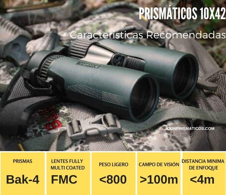 características recomendadas para   los prismáticos 10x42